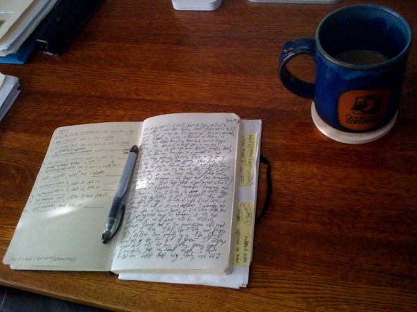 Old Moleskine and big mug