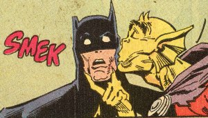 Batman and Etrigan kiss and make up, from Detective Comics 603