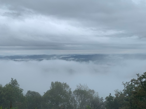 Image of the mountains and clouds off the Blue Ridge Parkway.